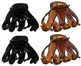 Haarkralle Oktopus Clip Schmetterling Bulldoggen Design Plastik - 4 Stück (Braun & Dunkelbraun)