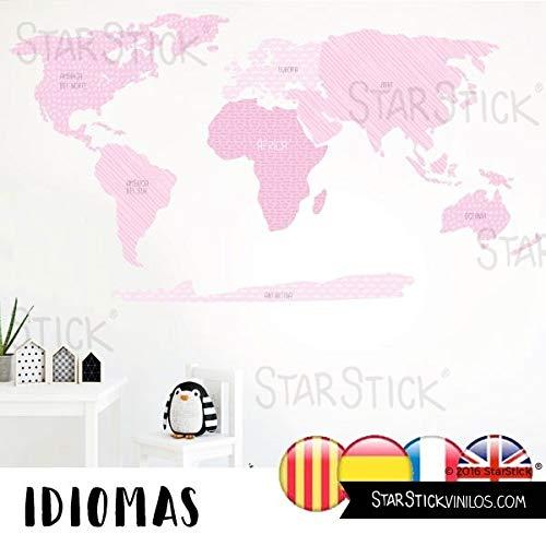 StarStick - Mapamundi combinación rosa bebé - Vinilos decorativos de pared -...