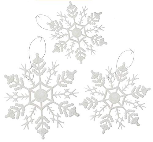 Your Little Lovely 24PCS Snowflake Christmas Decorations -Glitter Snowflakes White Winter Wonderland Party - Xmas Tree Hanging Supplies Ornaments