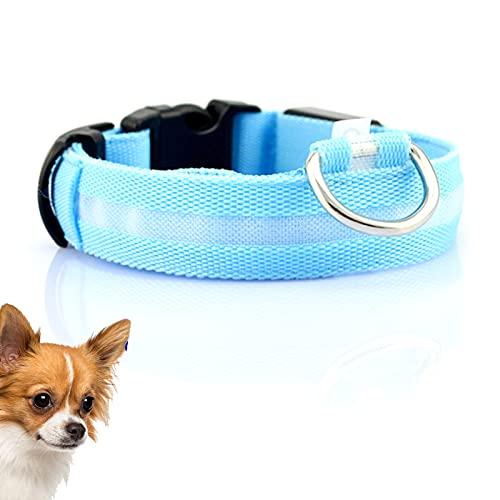 Collar Luminoso para Perros, Collar de Nylon para Mascotas, Collar de Perro de Mascota, Collar LED Impermeable Ajustable, USB Recargable Collar de Seguridad para Mascotas (Código Azul, M)