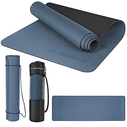 EliteAthlete Yogamatte - Fitnessmatte - Gymnastikmatte - Übungsmatte aus hochwertigen TPE für Fitness Pilates & Gymnastik - Sportmatte mit Tragegurt und extra Tasche - 183 cm x 61 cm x 0.6 cm