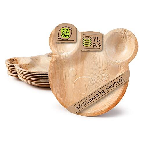 BIOZOYG Palmware Party Kindergeburtstag Teller in süßem Bärchen Design I 12 Stück Palmblatt Einwegteller 22x24 cm I Einweggeschirr Teller stabil 100% biologisch & vollständig kompostierbar