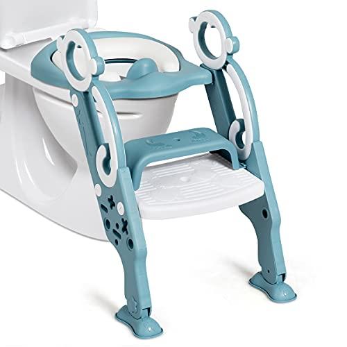 COSTWAY Kinder Toilettensitz höhenverstellbar, Toilettentrainer faltbar, Kindertoilette mit Leiter und Griffe, Töpfchentrainer zum Toilettentraining für Kleinkinder von 2 bis 7 Jahre (Grün)