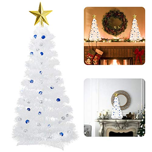 ANPHSIN Mini White Christmas Tree- 23 Inch Easy-Assembly Tabletop Small Artificial Christmas Tree Ornaments with Top Star Xmas Balls and Bottom Stand for Xmas Holiday Home Kitchen Table Decor