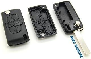 Carcasa de llave con telemando, 4 botones, para Peugeot 807, 1007, con