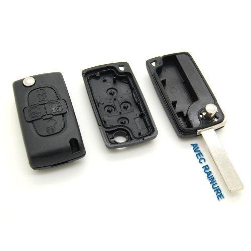 E-Senior Schlüsselgehäuse für Funkfernbedienung mit 4 Tasten, für Peugeot 807 1007, ohne Rillen