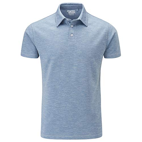 Charles Wilson Slub Jersey Polo-Shirt (Large, Light Blue)