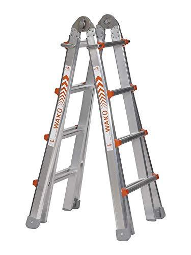 WAKÜ Teleskopleiter 1,29 m - 4,20 m, höhenverstellbar als Anlegeleiter, Bockleiter und Treppenleiter