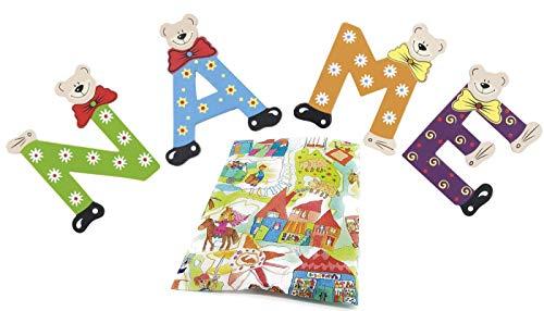Playshoes Holzbuchstaben Bär im Set für Wunschname inkl Geschenkverpackung & Klebepunkte Türbuchstaben Holz Dekobuchstaben (3er Set)