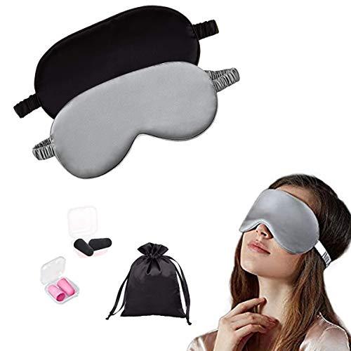 Healifty weiche Augenklappe 2st Multicolor Augenmaske , Augen SchlafMaske & Brille mit Ohrstöpsel ,zum Schlafen ,umweltfreundlich, elastisches Band Ideal für Schlaf zu Hause und Auf Reisen