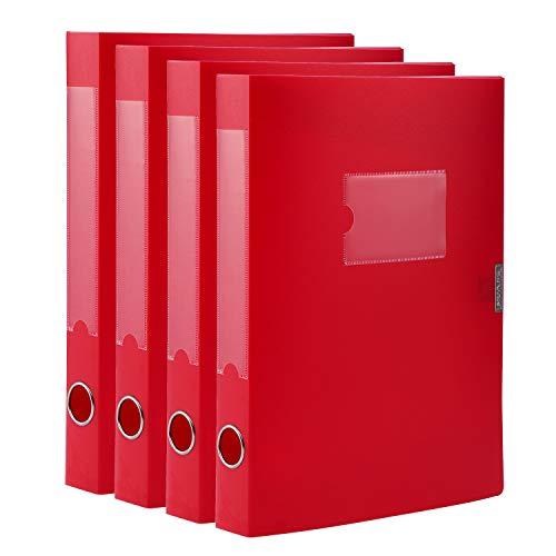 Cajas de archivo, tamaño A4, de plástico, con tapa, organizador de archivos, tamaño carta, color rojo (paquete de 4)