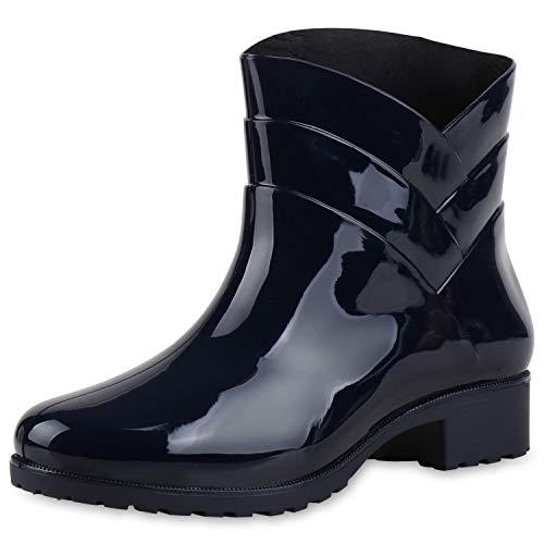 SCARPE VITA Damen Schnürstiefeletten Leicht Gefütterte Plateau Stiefeletten Zierperlen Schuhe Schnallen Boots Nieten 172764 Dunkelblau 37