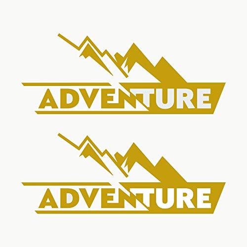 Autodomy Pegatinas Adventure 4x4 Off Road Todoterreno Sport Maletas Moto Cofre Trail Pack 2 Unidades para Coche o Moto (Oro)