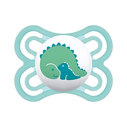 MAM Chupete Perfect S133 - Chupete con Tetina extra fina y flexible de Silicona SkinSoftTM ultrasuave para Bebés de 0+ meses, Azulm con caja Auto Esterilizable, Versión Española
