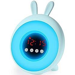 Kids Alarm Clock - Kids Sleep Training Clock, Night Light & Alarm - Cute Children's Night Lights for Girls Boys Toddler, 7 Color Night Light, Mint Green Kids Alarm Clocks.