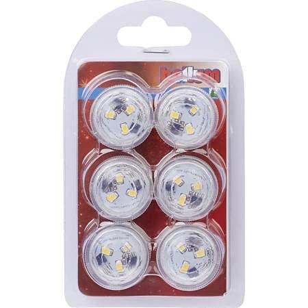 Hellum 523072 - Luz LED para té, iluminación subacuática, para piscina, acuario, estanque o jardín, LED blanco cálido con mando a distancia, funciona con pilas de larga duración, 6 velas LED