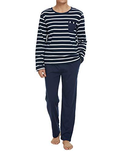 TOP-VIGOR Mens Pajamas Long Sleeve Top & Pants 100% Cotton Sleepwear for Men Pjs Set Pijamas