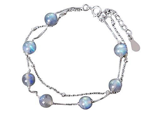 NicoWerk Pulsera prémium para mujer de plata de ley 925 – Joya – Diseñada en Alemania – Pulsera multihilera con bolas de piedra de luna – Incluye caja de regalo SAB169