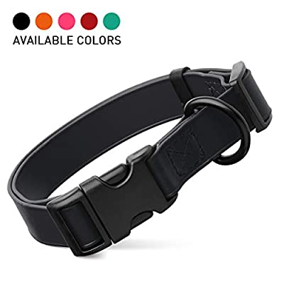"Dogline Biothane Waterproof Dog Collar with Quick Release Buckle Strong Coated Nylon Webbing with Odor- Proof for Easy Care Easy to Clean Fits Small Medium or Large Dogs - Black 3/4"" W 12-19"" L"