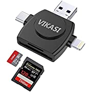 VIKASI Micro SD Card Reader TF Memory Card Camera Reader Adapter Compatible iPhone/iPad/Android/Mac/PC MacBook Lightning/Micro USB/Type C/USB 3.0 Connector 4 in 1