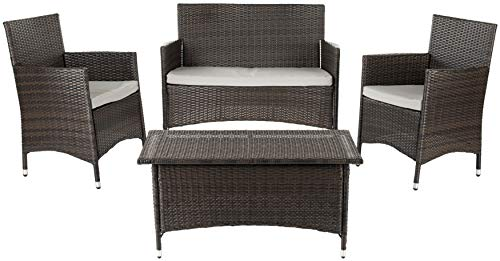 Hot Sale Safavieh Home Collection Briana Brown Outdoor Living Wicker Patio Set with Grey Cushions, 4-Piece