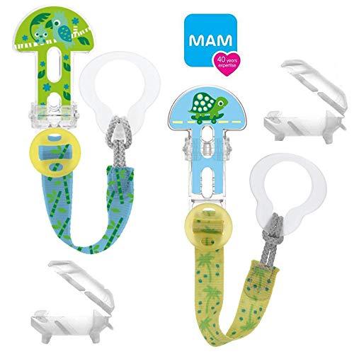 MAM Clip it ! Fashion & Cover Schnullerband Schnullerkette mit Saugerschutz // 2er Set Uni // längenverstellbar, waschbar