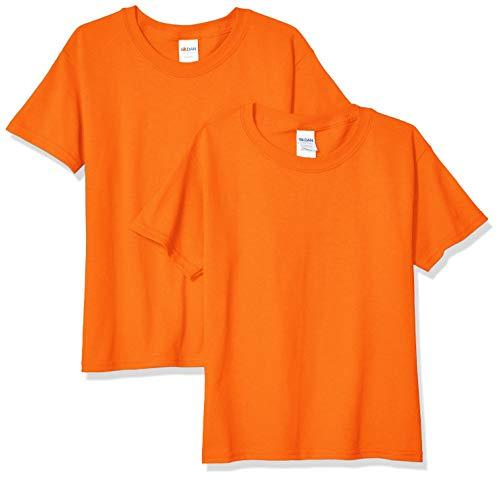 Gildan unisex child Heavy Cotton Youth T-shirt, 2-pack T Shirt, Orange, Small US