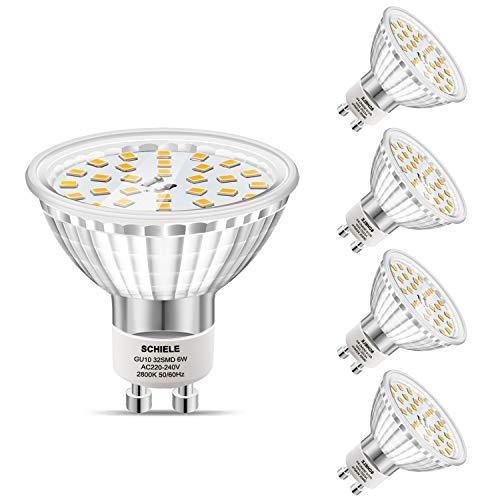 GU10 LED SCHIELE LED Lampe 6W ersetzt 50W, LED Leuchtmittel GU10 Warmweiß(2800K) 480Lumen 120°Strahlwinkel Reflektorlampen, 5er Pack