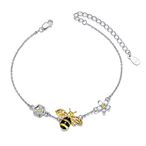 LONAGO 925 Sterling Silver Honey Bee Bracelet Cute Bumble Bee Flower Bracelet Jewelry for Women