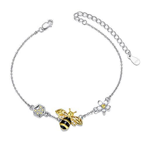 LONAGO Argent Sterling 925 Bracelet Abeille Miel Mignonne Bourdon Fleur Bracelet Bijoux pour Femmes