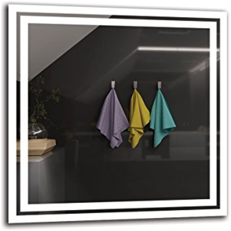 LED Spiegel Premium - Spiegelmaen 60x60 cm - Badspiegel mit LED Beleuchtung - Wandspiegel - Lichtspiegel - Fertig zum Aufhngen - ARTTOR M1ZP-52-60x60 - Lichtfarbe Wei kalt 6500K - ARTTOR