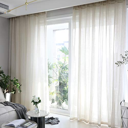 Home Brilliant Natural Linen Curtains for Living Room Semi Sheer Window Treatment Panels for Patio, 54 x 84 inch Long, Beige, Set of 2
