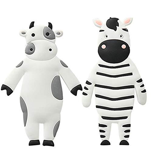 BESPORTBLE 2 Stücke Selbstklebende Kleiderhaken Tier Haken Zebra Kuh Figur Wandhaken Handtuchhaken Kinder Garderobenhaken Schlüsselhaken für Wohnzimmer Kinderzimmer Badezimmer Küche