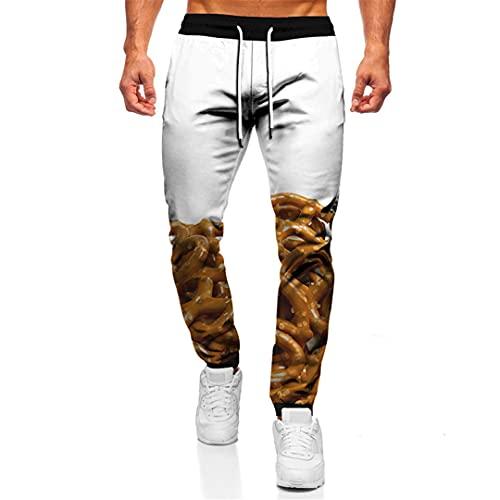 BLACKHEI Pantalones sueltos para hombre de la calle Hip Hop 3D Gourmet Printing Trend Joggers Fitness Sweat Pants, Tta21-05, 41-44.5