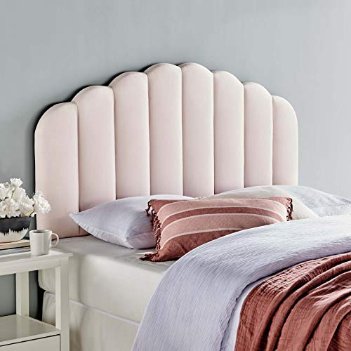 Modway Veronique Channel Tufted Performance Velvet Upholstered Full/Queen Headboard in Pink