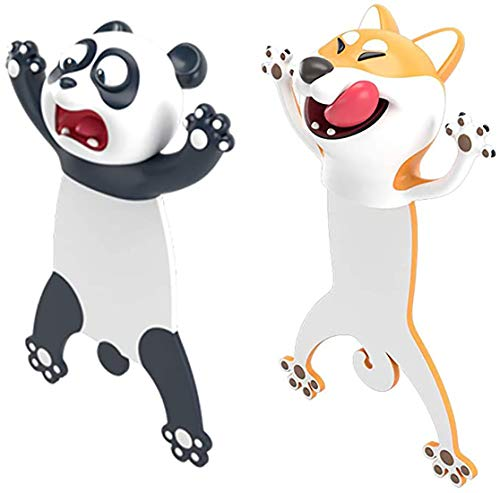 2Pcs Ouch Bookmarks, 3D Stereo Novelty Cartoon Animal Bookmarks Wacky Squashed Animal Page Marker, Cute Funny Stationery Christmas Birthday Party Gifts for Kids Adults Boys Girls Help with Reading