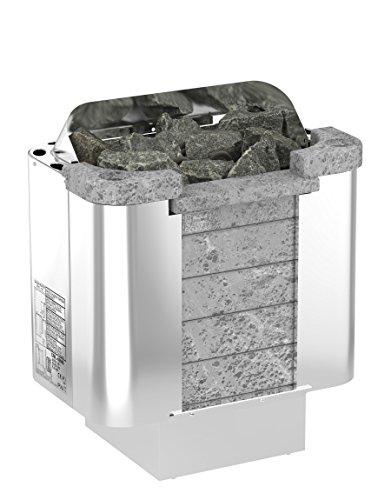 SAWO CUMULUS 4,5 kW Elektrische Saunaofen; wird separates Steuergerät benötig (NS-Modell); Multispannung: entweder Einphasig oder 3-Phasig; Edelstahlgehäuse mit Speckstein vorne