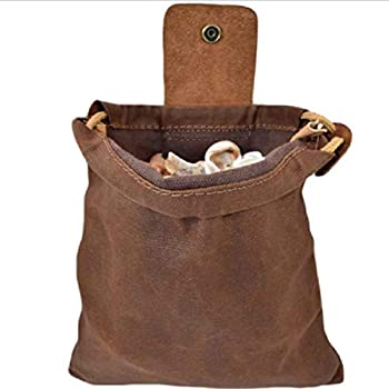 Wossei Foldable Leather and Canvas Bushcraft Bag, for Outdoors Camping Waxed Canvas Pouch (C)