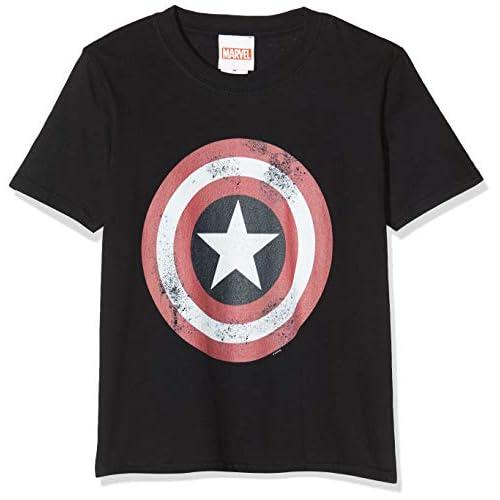 Marvel Avengers Captain America Distressed Shield T-Shirt, Nero (Black Blk), 7-8 Anni (Taglia Unica: 7-8Y) Bambino