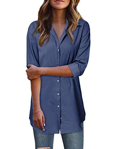 Style Dome Vestido de túnica de Mujer Blusa de Mezclilla Botón Mini Vestido Blusa Camisa Camisa Larga Azul...