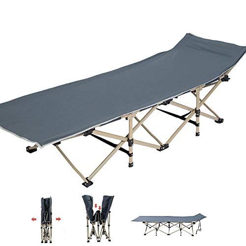 Silla reclinable Cuna de camping plegable de alta resistencia, portátil para invitados, para adultos, niños, tumbona con bolsa de transporte para acampar, oficina en casa, soporte 200 kg (Color: Azul)