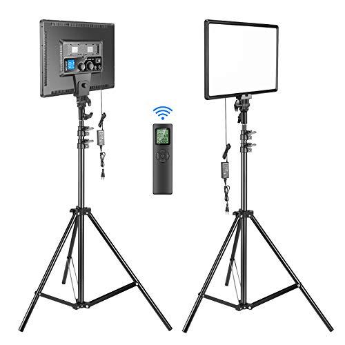 """Neewer Kit d'Illuminazione 90W Luce LED con 2,4G Telecomando Wireless: 2pz Luce 18"""" Bicolore Dimmerabile Grande & Stativo, 45W 3200-5600K 4800LM CRI95+, per Video Streaming in Diretta Fotografia"""