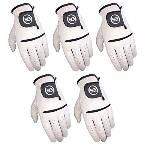 H-Cube SG Herren Allwetter-Golfhandschuhe, Cabretta-Leder, Handfläche und Daumen (Herren – Weiß, 5 Stück, mittlere linke Hand)