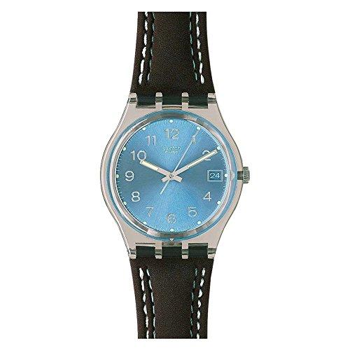 Swatch GENT - Reloj analógico de caballero de cuarzo con correa de plástico marrón - sumergible a 30 metros