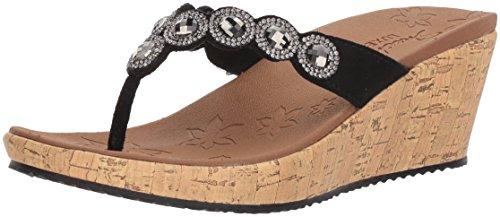 Skechers Cali Women's Beverlee-Bizzy Babe Wedge Sandal,black,8 M US