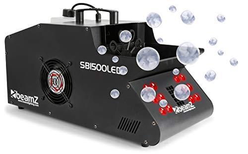 Beamz Sb1500 LED Nebelmaschine Seifenblasen-Maschine (1500 Watt, 1,35 Liter Tank, 12 X 3 Watt LEDs Mit Farbwechsel, Rgb, 8 Dmx-Kanäle) Schwarz