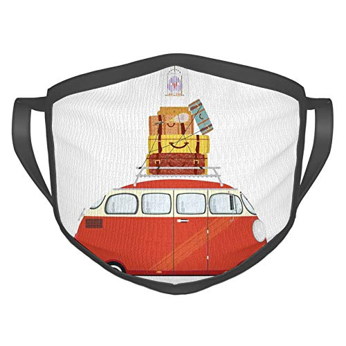 Comfortable Windproof mask,Cartoon Style Retro Minivan with Suitcases and Bird Cage Traveling Theme Holiday,Printed Facial decorations for adult