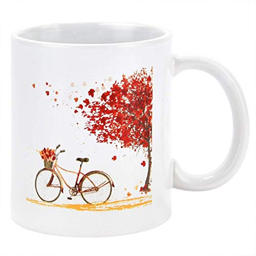 Fall Coffee Mug Funny Autumn Tree Maple Leaf Bicycle Coffee Mug Unique Fall Season Gifts for Parents Friends Men Women or Daily