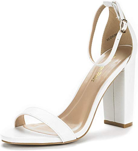 DREAM PAIRS Women's Hi-Chunk White Pu High Heel Pump Sandals - 8.5 M US