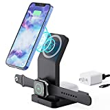 Magnetic Wireless Charger Stand, 3 in 1 Charging Station for Apple iPhone 12 /12Pro/12Pro Max/Mini/,AirPods 2/pro,iWatch 6/ SE/5/4/3/2, Compatible with Magsafe Case(Qc3.0 Adapter Included)